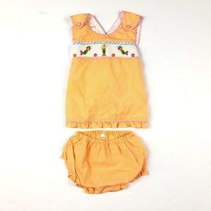 Petit Ami Orange Smocked Top Bloomers Set Outfit 3